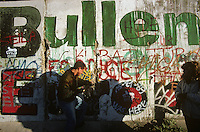 'Bullen' - graffiti, Berlin Wall west zone.10 November 1989
