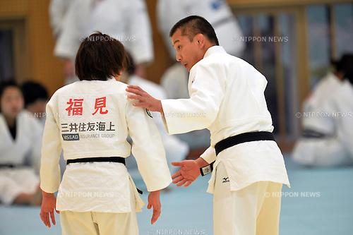 (L to R) Tomoko Fukimi (JPN),   Mitsutoshi Nanjo (JPN),.MARCH 27, 2013 - Judo : Japan women's team training session at Ajinomoto National training center, Tokyo, Japan. (Photo by Jun Tsukida/AFLO SPORT).