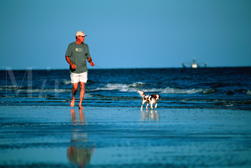 Man walking his dog along the water edge at the beach.