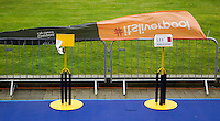10 AUG 2014 - LIVERPOOL, GBR - A strong wind blows through transition lifting banners from the barriers after the elite men's wave had been cancelled at the Tri Liverpool triathlon in Kings Dock in Liverpool, Great Britain(PHOTO COPYRIGHT © 2014 NIGEL FARROW, ALL RIGHTS RESERVED)