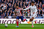 Raphael Varane of Real Madrid and Angel Martin Correa of Atletico de Madrid during La Liga match between Real Madrid and Atletico de Madrid at Santiago Bernabeu Stadium in Madrid, Spain. February 01, 2020. (ALTERPHOTOS/A. Perez Meca)