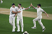 22nd March 2018, Eden Park, Auckland, New Zealand; International Test Cricket, New Zealand versus England, day 1;  James Anderson celebrates the dismissal of Taylor with team mates