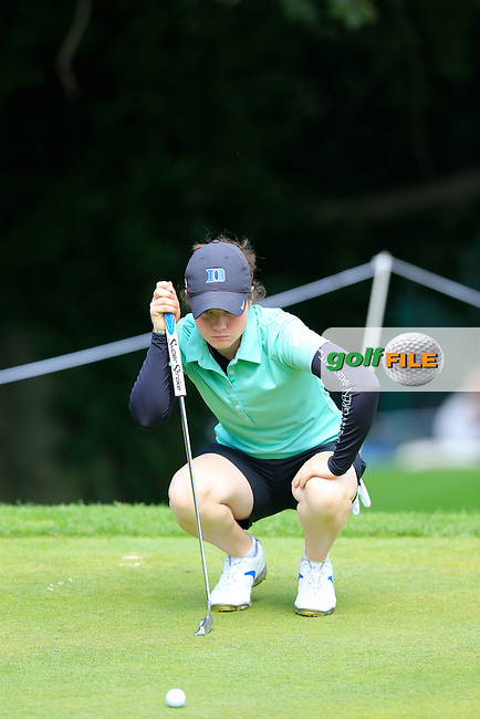 Leona Maguire (AM)(IRL) lines up her putt on the 6th green during Sunday's Final Round of the LPGA 2015 Evian Championship, held at the Evian Resort Golf Club, Evian les Bains, France. 13th September 2015.<br /> Picture Eoin Clarke | Golffile