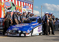 Sept. 2, 2013; Clermont, IN, USA: NHRA funny car driver Robert Hight celebrates with crew after winning the US Nationals at Lucas Oil Raceway. Mandatory Credit: Mark J. Rebilas-
