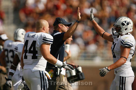 Trent Nelson  |  The Salt Lake Tribune.BYU coach Bronco Mendenhall high-fives BYU linebacker Shane Hunter (51)  in the second quarter, BYU vs. Florida State, college football Saturday, September 18, 2010 at Doak Campbell Stadium in Tallahassee, Florida.