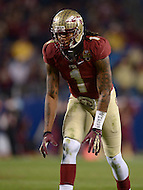 December 7, 2013  (Charlotte, North Carolina)  Florida State Seminoles wide receiver Kelvin Benjamin #1 readies for a play during the 2013 ACC Championship game against the Duke Blue Devils. (Photo by Don Baxter/Media Images International)