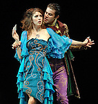 Jessica Boone as Imogen and Bernardo Cubria as Iachimo during the final dress rehearsal of Cymbeline at Miller Theatre in Hermann Park Thursday July 31,2008. (Dave Rossman/For the Chronicle)