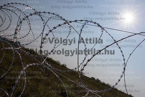 A section of NATO barbed wire fence is seen built to stop illegal migrants entering on the green border between Serbia and Hungary near Asotthalom (about 190 km South of capital city Budapest), Hungary on August 13, 2015. ATTILA VOLGYI