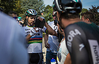 World Champion Peter Sagan (SVK/Bora Hansgrohe) looking the repeat to be sure he won the close sprint with Phil Bauhaus. <br /> <br /> Binckbank Tour 2017 (UCI World Tour)<br /> Stage 1: Breda (NL) &gt; Venray (NL) 169,8km