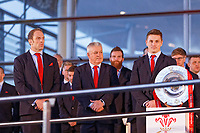 (L-R) Team captain Alun Wyn Jones, head coach Warren Gatland and Jonathan Davies during the Celebration for Wales Six Nations Win at the National Assembly for Wales, Cardiff Bay, Wales, UK. Monday 18 March 2019