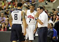 USA's coach Mike Krzyzewski (r), Deron Williams (l) and Russell Westbrook during friendly match.July 24,2012. (ALTERPHOTOS/Acero) /NortePhoto.com<br /> **CREDITO*OBLIGATORIO** *No*Venta*A*Terceros*<br /> *No*Sale*So*third* ***No*Se*Permite*Hacer Archivo***No*Sale*So*third*©Imagenes*con derechos*de*autor©todos*reservados*.