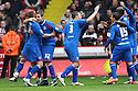 Joel Byrom of Stevenage (l) is congratilated after scoring their first goal. - Sheffield United v Stevenage - npower League 1 - Bramall Lane, Sheffield  - 28th April, 2012. © Kevin Coleman 2012