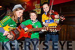 Ciara Ballon(Listowel), Oision O'Reegan(Duagh), Tara Ogen(Duagh) playing in the busking competition on Friday night.