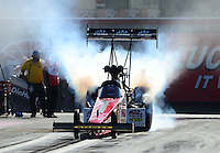 Oct. 28, 2012; Las Vegas, NV, USA: NHRA top fuel dragster driver Doug Kalitta during the Big O Tires Nationals at The Strip in Las Vegas. Mandatory Credit: Mark J. Rebilas-