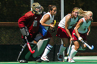 2 September 2005: Madison Bell, Tammy Shuer, Missy Halliday and Aska Sturdevan during Stanford's 3-1 loss to the University of Iowa at the Varsity Turf Field in Stanford, CA.