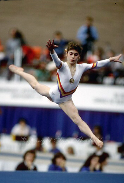 Celestine Popa of Romania performs on floor exercise at 1985 World Championships in women's artistic gymnastics at Montreal, Canada in mid-November, 1985.  Photo by Tom Theobald.