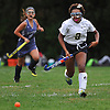 Alexis Holt #2 of Baldwin chases after a loose ball during a Nassau County Conference I varsity field hockey match against New Hyde Park at Baldwin High School on Wednesday, Sept. 28, 2016. She tallied an assist in Baldwin's 2-0 win.