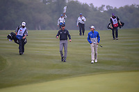 Jimmy Walker (USA) and Richy Werenski (USA) approach the green on 1 during Round 3 of the Valero Texas Open, AT&T Oaks Course, TPC San Antonio, San Antonio, Texas, USA. 4/21/2018.<br /> Picture: Golffile | Ken Murray<br /> <br /> <br /> All photo usage must carry mandatory copyright credit (© Golffile | Ken Murray)