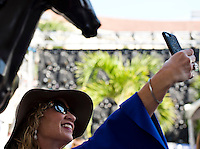 HALLANDALE BEACH, FL - JAN 28: A fan taking selfies at the races during Pegasus World Cup Invitational Day at Gulfstream Park Race Course on January 28, 2017 in Hallandale Beach, Florida. (Photo by Doug DeFelice/Eclipse Sportswire/Getty Images)