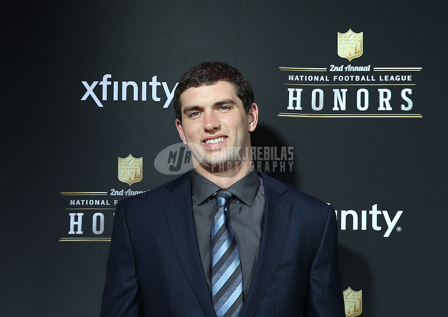 Feb. 2, 2013; New Orleans, LA, USA: Indianapolis Colts quarterback Andrew Luck walks the red carpet prior to the Super Bowl XLVII NFL Honors award show at Mahalia Jackson Theater. Mandatory Credit: Mark J. Rebilas-USA TODAY Sports