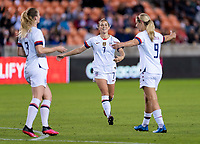 HOUSTON, TX - JANUARY 28: Abby Dahlkemper #7 and Lindsey Horan #9 of the United States celebrate a goal during a game between Haiti and USWNT at BBVA Stadium on January 28, 2020 in Houston, Texas.