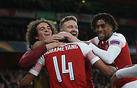 Arsenal's Pierre-Emerick Aubameyang celebrates scoring his side's third goal with Matteo Guendouzi, Shkodran Mustafi and Alex Iwobi<br /> <br /> Photographer Rob Newell/CameraSport<br /> <br /> Football - UEFA Europa League Round of 16 Leg 2 - Arsenal v Rennes - Thursday 14th March 2019 - The Emirates - London<br />  <br /> World Copyright © 2018 CameraSport. All rights reserved. 43 Linden Ave. Countesthorpe. Leicester. England. LE8 5PG - Tel: +44 (0) 116 277 4147 - admin@camerasport.com - www.camerasport.com