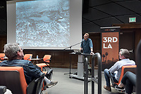 Nathan Masters, USC Libraries, presents a brief history of the Silver Lake Reservoir.<br /> The 3rdLA series finale, 96 Acres: Designs on the Silver Lake Reservoir, considers one of the most contentious public-space issues in contemporary Los Angeles: the future of the Silver Lake Reservoir. Now that the reservoir will no longer be a source of public drinking water, what's the best way to use its 96 acres?<br /> Featuring panelists, from left: Alexander Robinson, director of the USC Landscape Morphologies Lab and principal, Office of Outdoor Research; Anne-Marie Johnson, Silver Lake Neighborhood Council; Catherine Geanuracos, Silver Lake Forward; Alissa Walker, Urbanism Editor, Curbed LAwill provide a range of fresh perspectives and moderator Christopher Hawthorne, architecture critic for the Los Angeles Times and professor of practice at Oxy. Wednesday, April 19, 2017 in Choi Auditorium.<br /> (Photo by Marc Campos, Occidental College Photographer)