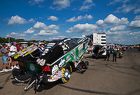 Aug 15, 2014; Brainerd, MN, USA; NHRA funny car driver John Force waits in the staging lanes during qualifying for the Lucas Oil Nationals at Brainerd International Raceway. Mandatory Credit: Mark J. Rebilas-
