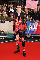"""Timothee Chalamet<br /> arriving for the London Film Festival screening of """"Beautiful Boy"""" at the Cineworld Leicester Square, London<br /> <br /> ©Ash Knotek  D3441  13/10/2018"""