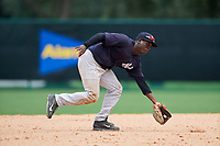 GCL Yankees West shortstop Sincere Smith (3) fields a ground ball during the second game of a doubleheader against the GCL Braves on July 30, 2018 at Champion Stadium in Kissimmee, Florida.  GCL Braves defeated GCL Yankees West 5-4.  (Mike Janes/Four Seam Images)