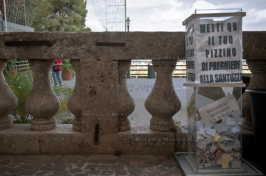 Palermo, sanctuary of Saint Rosalia, collection of letters and prayers to Santa Rosalia.<br /> Palermo, santuario di Santa Rosalia, raccolta di messaggi e preghiere  per Santa Rosalia.