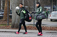 19th February 2020, Hannover, Germany; Simon Fabio Stehle 29, Hannover and Sebastian Soto on their way to the training ground Hanover 96 on the multi-discipline facility ; Soto, an American born player, has reportedly moved from Hannover to Norwich City of the English Premier league