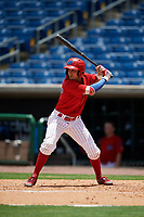 Clearwater Threshers shortstop Emmanuel Marrero (33) at bat during the second game of a doubleheader against the Lakeland Flying Tigers on June 14, 2017 at Spectrum Field in Clearwater, Florida.  Lakeland defeated Clearwater 1-0.  (Mike Janes/Four Seam Images)