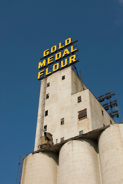 Minnesota, Twin Cities, Minneapolis-Saint Paul: Mill City Museum, showing flour milling history in Minneapolis.  Grain elevators are part of the museum..Photo mnqual256-75144..Photo copyright Lee Foster, www.fostertravel.com, 510-549-2202, lee@fostertravel.com.