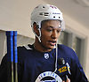K'Andre Miller #79 speaks with a reporter after a scrimmage in New York Rangers Prospect Camp held at Madison Square Garden Training Center in Greenburgh, NY on Wednesday, June 27, 2018.