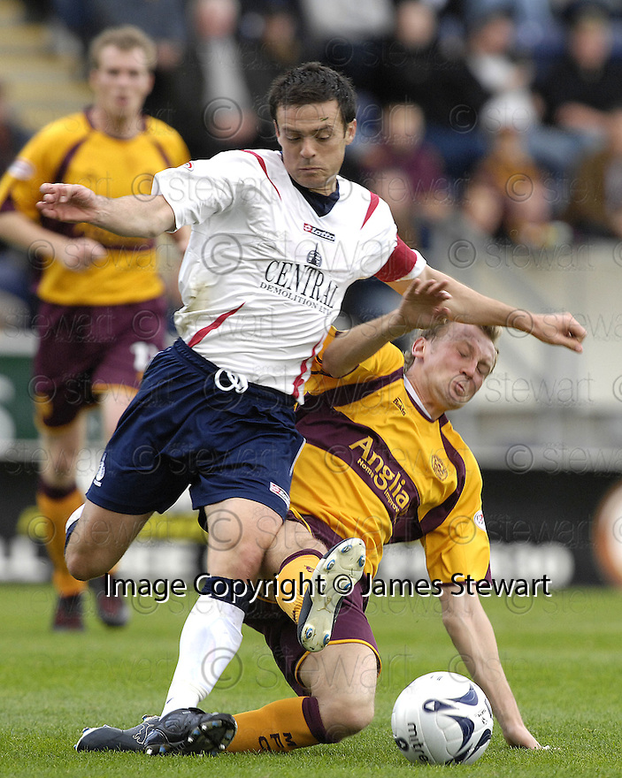 22/09/2007       Copyright Pic: James Stewart.File Name : sct_jspa02_falkirk_v_motherwell.STEPHEN HUGHES CHALLENGES STEVEN THOMSON... .James Stewart Photo Agency 19 Carronlea Drive, Falkirk. FK2 8DN      Vat Reg No. 607 6932 25.Office     : +44 (0)1324 570906     .Mobile   : +44 (0)7721 416997.Fax         : +44 (0)1324 570906.E-mail  :  jim@jspa.co.uk.If you require further information then contact Jim Stewart on any of the numbers above........