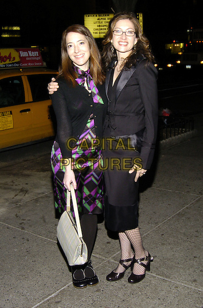 "CLEA LEWIS & ANNABELLE GURWITCH.Premiere of ""Fired!"" at the Village East Theater, New York, New York, USA..January 24th, 2007.full length black jacket satin lapels skirt fishnet stockings glasses purple green pattern dress bag purse cardigan.CAP/ADM/BL.©Bill Lyons/AdMedia/Capital Pictures *** Local Caption ***"