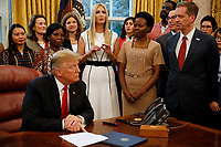 "First Daughter and Advisor to the President Ivanka Trump makes remarks prior to United States President Donald J. Trump signing the National Security Presidential Memorandum to Launch the ""Women's Global Development and Prosperity"" Initiative in the Oval Office of the White House in Washington, DC on Thursday, February 7, 2019.<br /> Credit: Martin H. Simon / CNP/AdMedia"