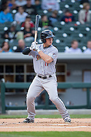 Tyler Austin (17) of the Scranton\Wilkes-Barre RailRiders at bat against the Charlotte Knights at BB&T BallPark on May 1, 2015 in Charlotte, North Carolina.  The RailRiders defeated the Knights 5-4.  (Brian Westerholt/Four Seam Images)