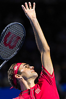 27th October 2019; St. Jakobshalle, Basel, Switzerland; ATP World Tour Tennis, Swiss Indoors Final; Roger Federer (SUI) hits a forehand in the match against Alex de Minaur (AUS) - Editorial Use