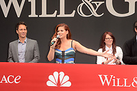 "Eric McCormack, Debra Messing, Megan Mullally<br /> at the ""Will & Grace"" Start of Production Kick Off Event, Universal Studios, Universal City, CA 08-02-17<br /> David Edwards/DailyCeleb.com 818-249-4998"