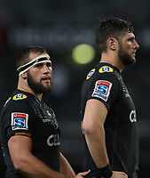 DURBAN, SOUTH AFRICA - APRIL 14: Thomas du Toit of the Cell C Sharks with Ruan Botha (captain) of the Cell C Sharks during the Super Rugby match between Cell C Sharks and Vodacom Bulls at Jonsson Kings Park Stadium on April 14, 2018 in Durban, South Africa. Photo: Steve Haag / stevehaagsports.com