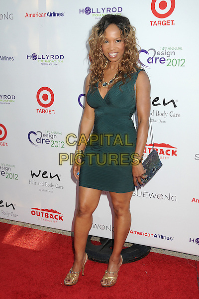 Elise Neal.14th Annual DesignCare Benefit for the HollyRod Foundation held at a Private Residence,- Malibu, California, USA, .21 July 2012..full length dress ruched bag gold sandals green .CAP/ADM/BP.©Byron Purvis/AdMedia/Capital Pictures.