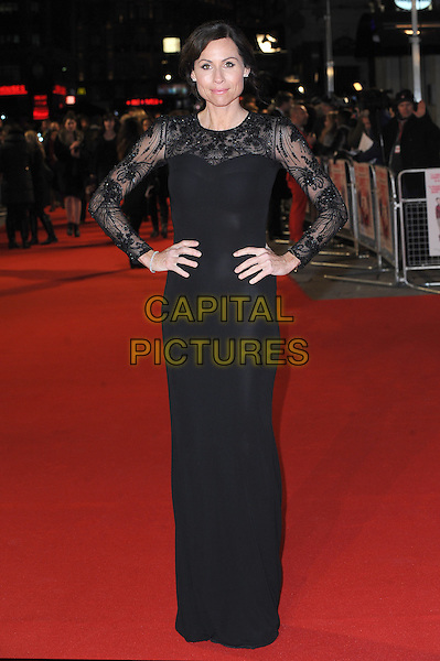 Minnie Driver .attends the UK Premiere of 'I Give It A Year', Vue West End cinema, London, England, UK, 24th January 2013..full length sheer hands on hips long sleeve maxi dress black lace beaded .CAP/BEL.©Tom Belcher/Capital Pictures.