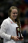 INDIANAPOLIS, IN - MARCH 18: Ella Eastin of Stanford University poses with her first place trophy following the 200-yard butterfly during the Division I Women's Swimming & Diving Championships held at the Indiana University Natatorium on March 18, 2017 in Indianapolis, Indiana. (Photo by A.J. Mast/NCAA Photos via Getty Images)