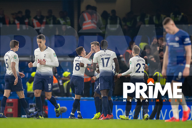 Fernando Llorente of Spurs celebrates is goal during the Carabao Cup Semi-Final 2nd leg match between Chelsea and Tottenham Hotspur at Stamford Bridge, London, England on 24 January 2019. Photo by Andy Rowland.