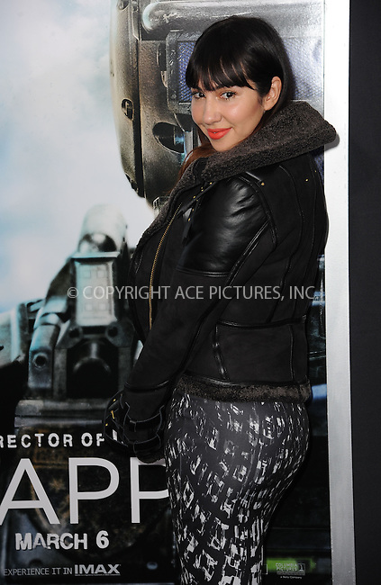 WWW.ACEPIXS.COM<br /> March 4, 2015 New York City<br /> <br /> Jackie Cruz attending the 'Chappie' New York Premiere at AMC Lincoln Square Theater on March 4, 2015 in New York City.<br /> <br /> Please byline: Kristin Callahan/AcePictures<br /> <br /> ACEPIXS.COM<br /> <br /> Tel: (646) 769 0430<br /> e-mail: info@acepixs.com<br /> web: http://www.acepixs.com