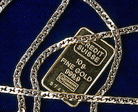 GOLD: 10g INGOT &amp; DECORATIVE COLORED GOLD CHAIN<br /> Pure Elemental Gold &amp; Homogeneous Gold Mixtures<br /> Red gold is a copper-gold alloy w/25% copper.  Yellow gold is a silver-copper-gold alloy.  White gold (looks blue) is a nickel, zinc or palladium-gold alloy.