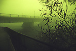 Bridge in early morning mist
