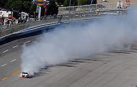 Apr. 24, 2009; Talladega, AL, USA; ARCA RE/MAX Series driver Ken Weaver smokes after blowing an engine during the RE/MAX 250 at the Talladega Superspeedway. Mandatory Credit: Mark J. Rebilas-
